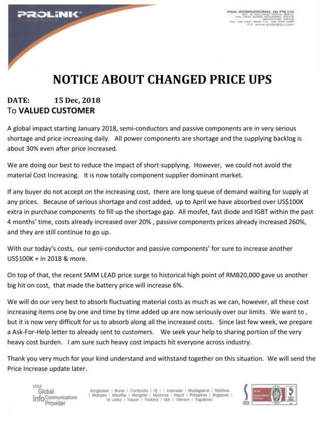 Thông báo tăng giá UPS Prolink của hãng